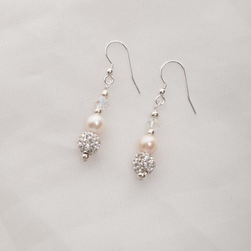 Handcrafted Earrings made with Freshwater Pearls with Swarovski Crystals and Sterling Silver Earring Wires